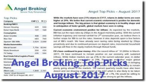 angel broking top picks august 2017