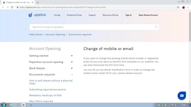 Change Mobile Number in Upstox