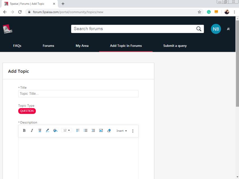Add topic in forum