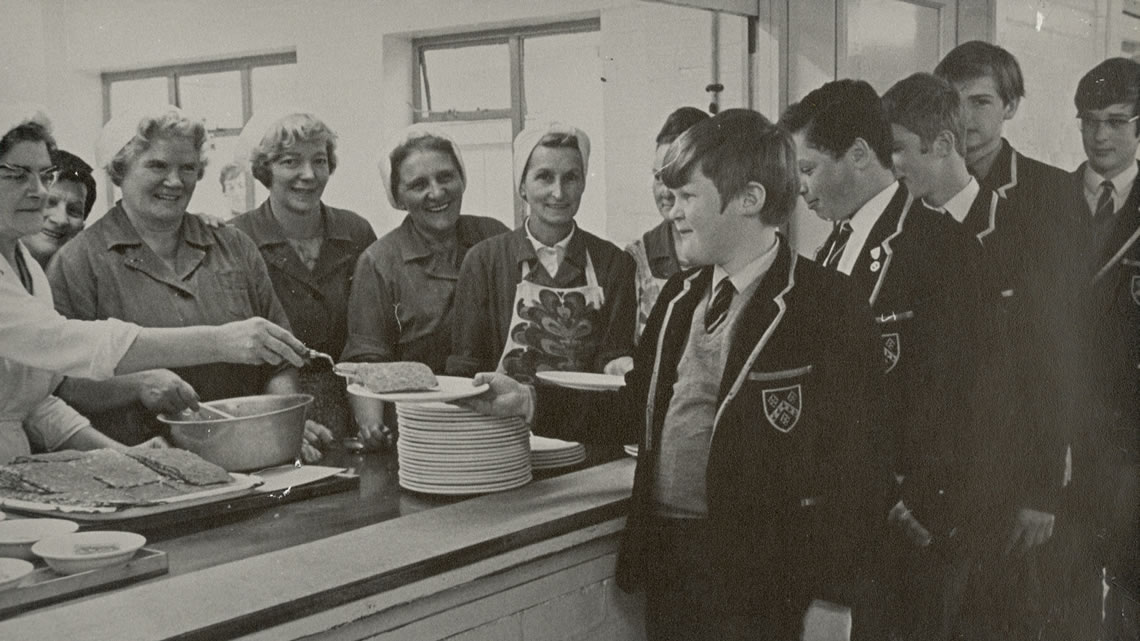 1960s dinnerladies serving boys