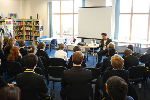 Department 19 author Will Hill speaks to pupils