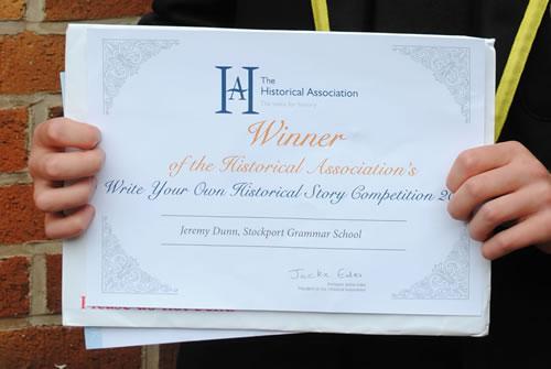 Jeremy's Historical Association certificate