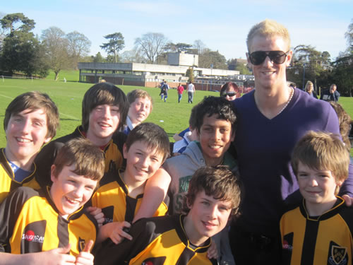Second Year footballers with Joe Hart