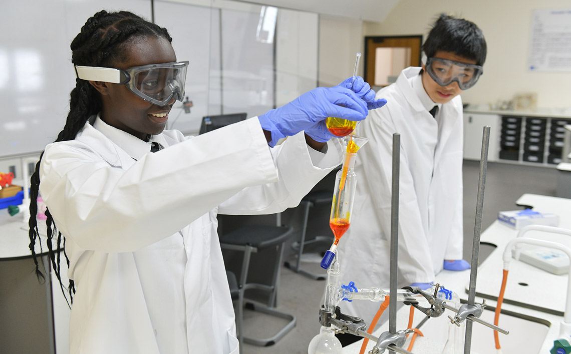 Students taking part in a Chemistry experiment