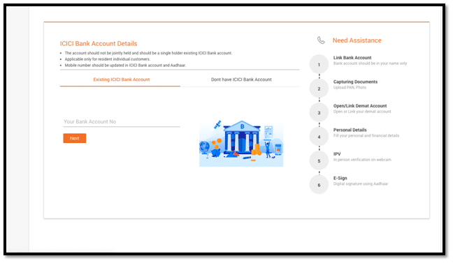 Fill Existing ICICI account Detail