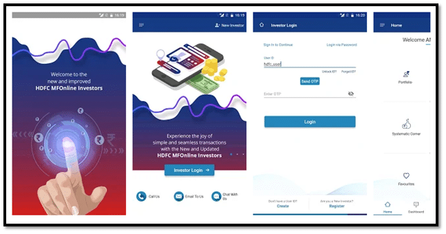 HDFC Mutual Fund Investor App Interface