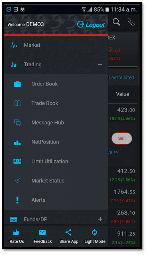 Tradebulls Touch – Mobile App Interface