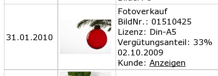 Christbaumkugelverkauf im Januar