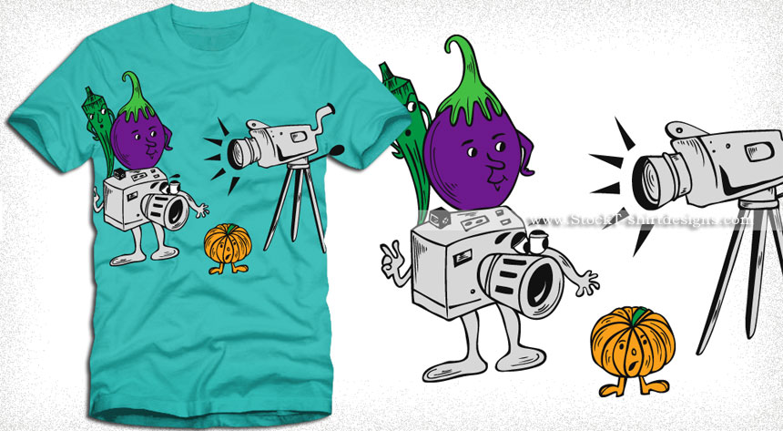 Cartoon vegetables characters with camera vector t shirt for Stock t shirt designs