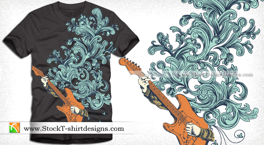 Hands playing guitar vector t shirt graphic design for Graphic designs for t shirts