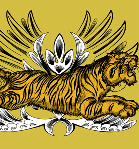 Vector T-shirt Design with Tiger