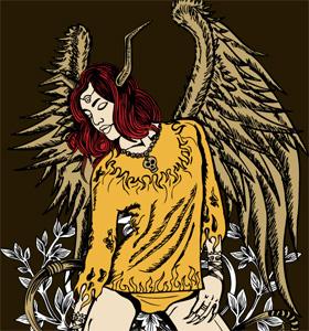 Beautiful Winged Woman Vector Tee Graphics Design