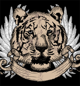 Tiger Head with Wings and Ribbon Vector T-shirt Design