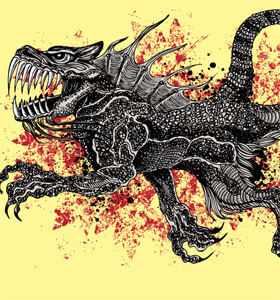 Dragon T-shirt Vector Graphic Design with Grunge