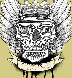 Vector Winged Skull with Crown and Banner T-shirt Illustration