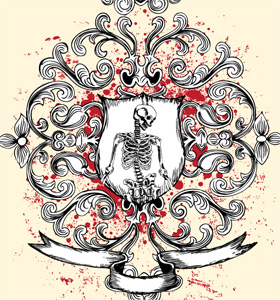 Shield with Skeleton, Floral and Ribbon Vector T-shirt Design
