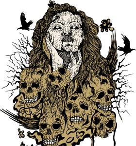 Demon Girl with Skull Vector Tee Design