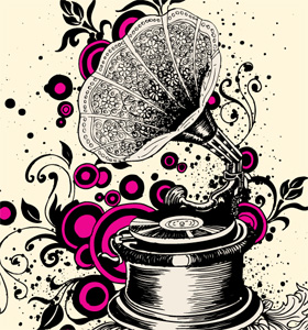 Vintage Gramophone with Floral and Circle Vector T-shirt Illustration