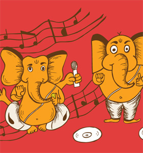 Cartoon Vinayagar with Music Notes Vector T-shirt Design