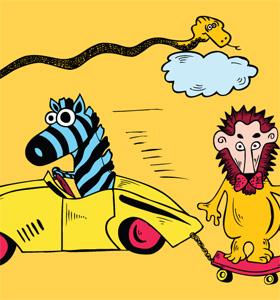Cartoon Lion with Snake, Car and Zebra Vector Art T-shirt Design