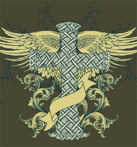 Vector Tee Design with Winged Cross, Floral and Banner