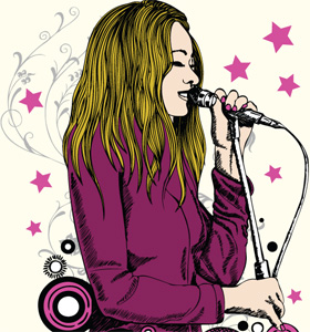 Vector Tee Graphics Design with Beautiful Girl Singing on a Microphone