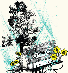 Vector Music T-shirt Design with Cassette, Tree and Flowers