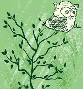 Nature T shirt Design: Owl Sitting On a Tree Vector