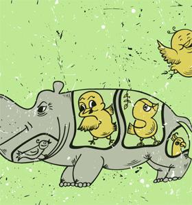 Cartoon Hippopotamus Vector T-shirt Design