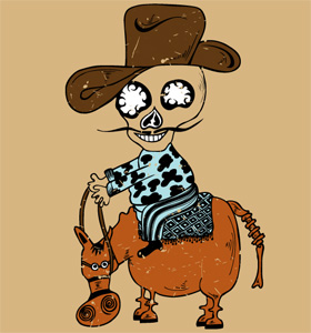 Cartoon Cowboy Skull Riding a Horse Vector T-shirt Design