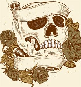 Vintage Skull with Roses and Banner Vector T-shirt Design