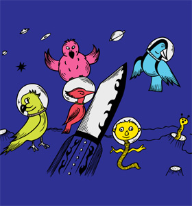 Cute Cartoon Birds in the Space Vector T-shirt Design