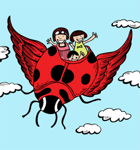 Cute Cartoon Kids Riding a Flying Ladybug Vector T-shirt Design