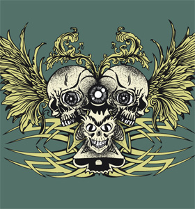 Skull with Wings and Celtic Tattoo Design T-shirt Vector