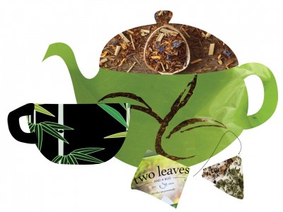 Two Leaves TeaPot and Black Cup