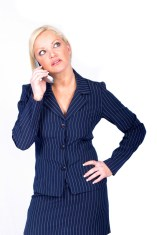 Business Woman with Cell Phone Isolated on White