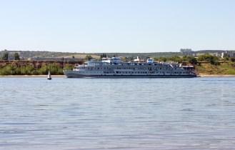 Motor ship on Volga river Russia