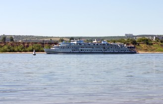 Motor ship on Volga river Russia