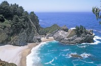 cove along Big Sur, California coastline with McWay Falls