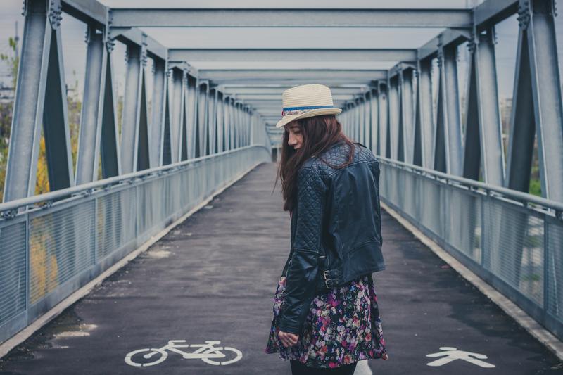 Woman on Bridge Image