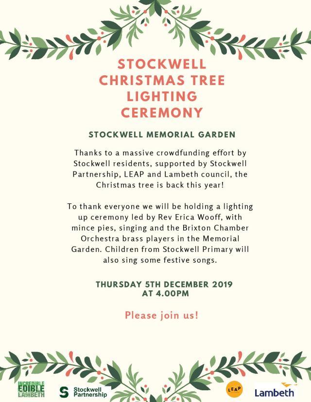 Stockwell Christmas Tree Lighting Up Ceremony