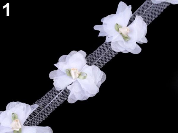Blütenborte auf Tüll, 60mm Breite, creme
