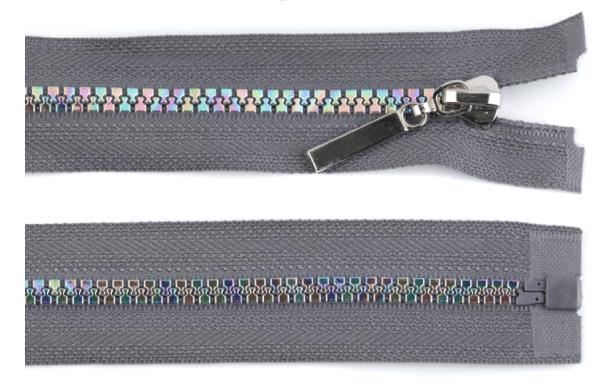 Regenbogen Reißverschluss teilbar 70cm , Breite 5mm, grau,