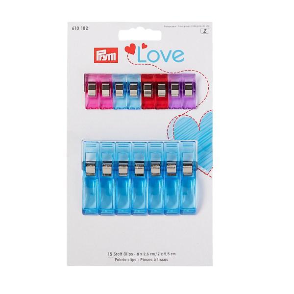 Prym Love Stoffclips 2,6 cm + 5,5cm, 15 Stück