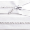 Reißverschluss teilbar mit Strass, 4mm breit, 50cm lang, Weiß