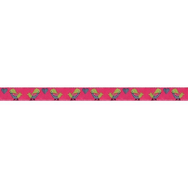 Prym Webband Vogel pink/grün, 15 mm