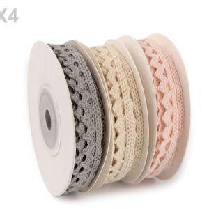 Klöppelspitze aus Baumwolle, 10 mm Breite, hellrosa/hellbeige/grau