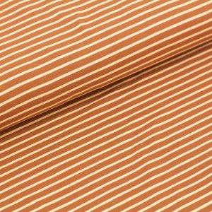 Stoffonkel Biojersey Streifen - karamell