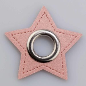 Ösenpatch Stern rosa/Nickel, 11mm