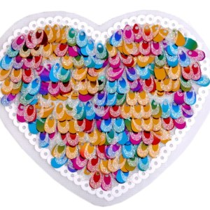 Applikation zum Aufbügeln, Herz mit Pailletten, bunt
